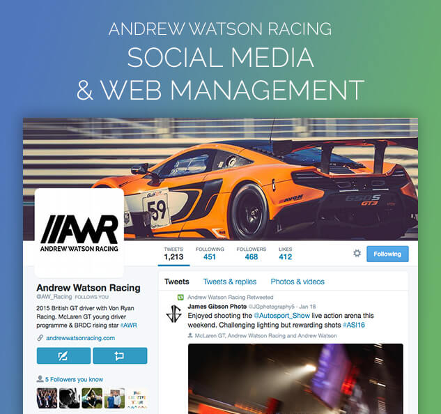 Andrew Watson Racing Video Production PR