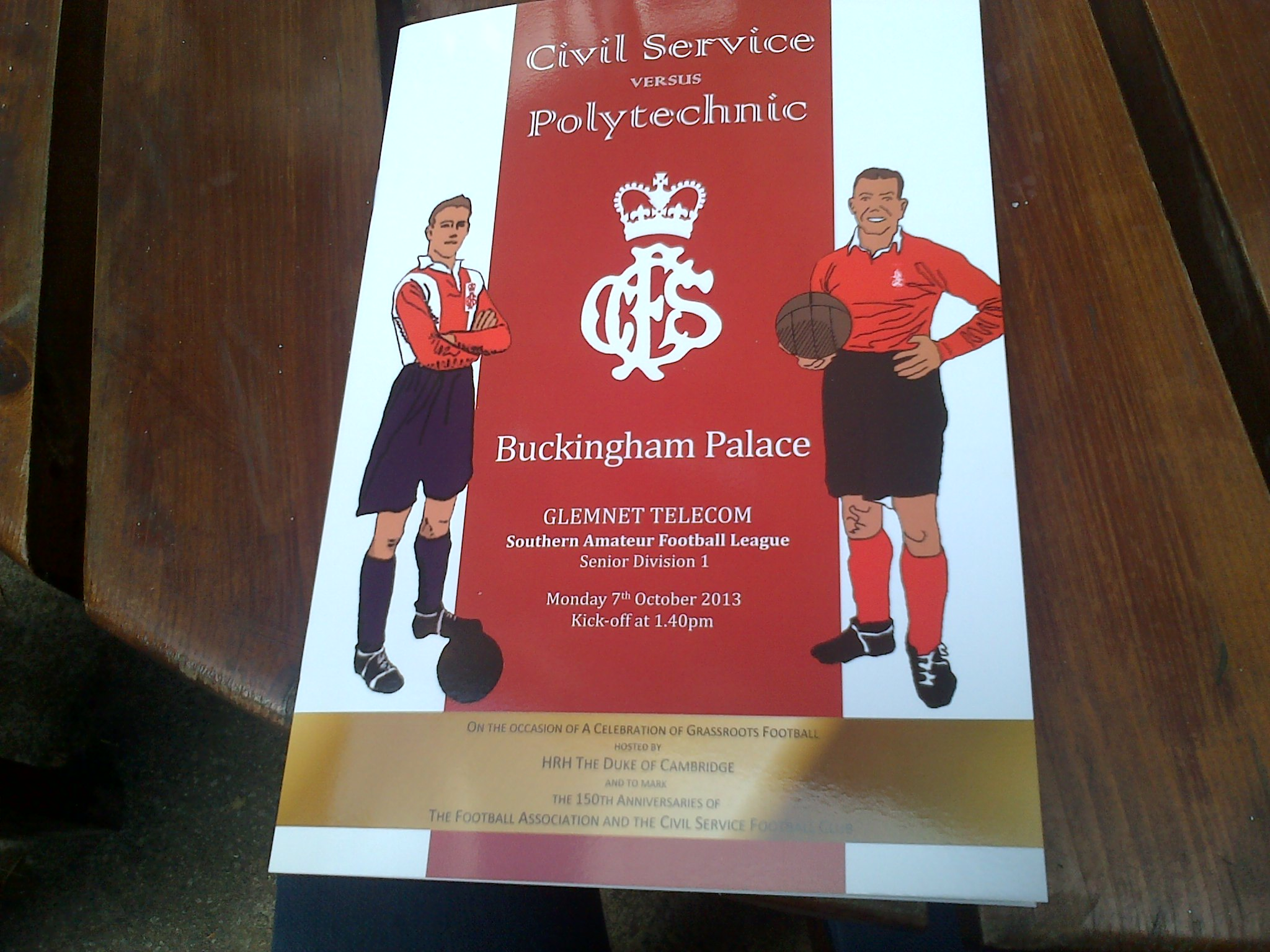 Match day programme - Fooball at Buckingham Palace