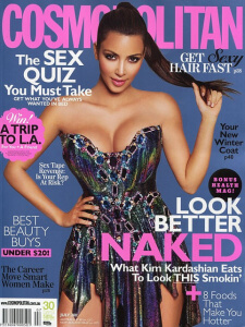 A picture of Kim Kardashian on the front cover of Cosmopolitan