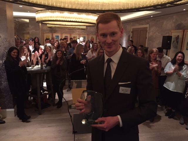 PHA's Director of PR Stuart Skinner collects the award