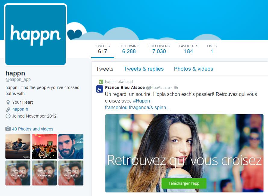 Happn Twitter account