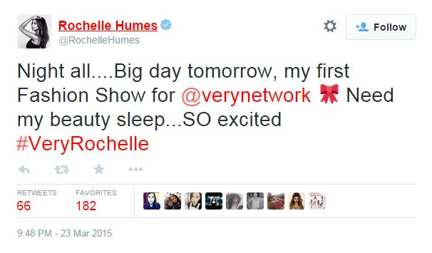 Rochelle Humes Very Network tweet