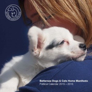 Battersea Dogs home political manifesto of a dog being cuddled by someone