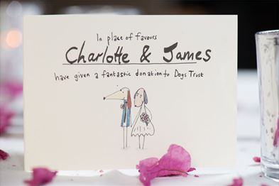An animation of a dog couple getting married as part of a donation process for Dogs Trust