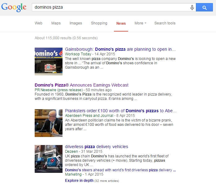 Dominos pizza press release in Google news results