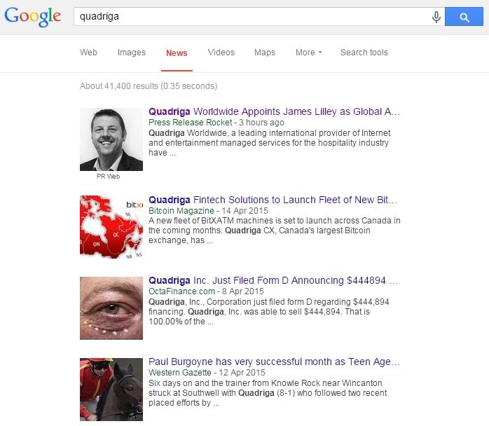 Quadriga press release in Google news results