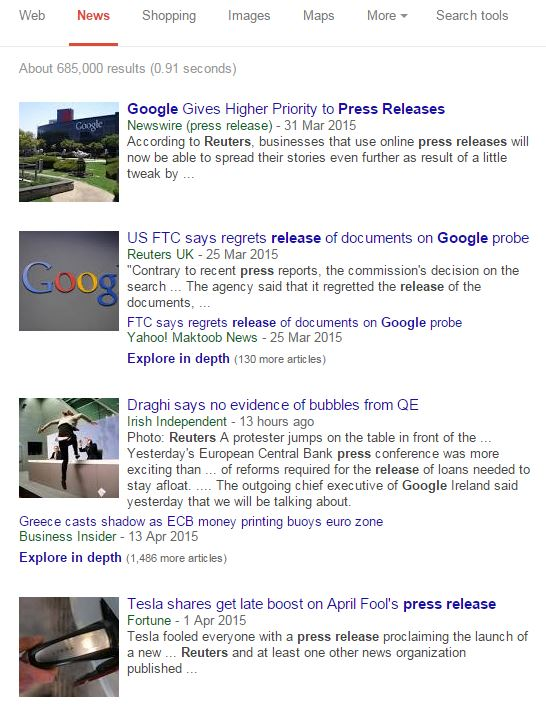 Reuters press releases appearing in Google news