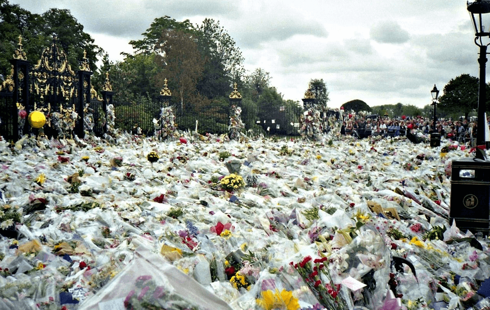 Flowers left out for Princess Diana after her tragic car crash