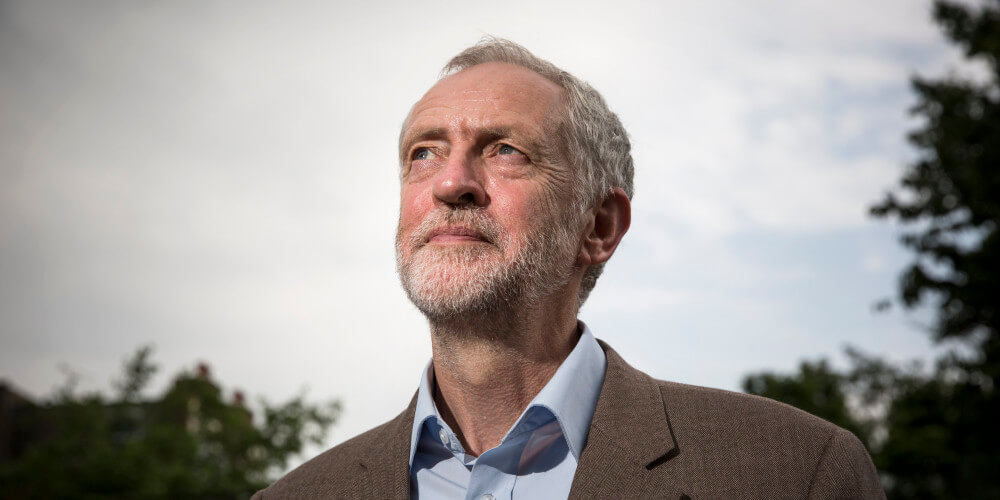Jeremy Corbyn looking up to the sky