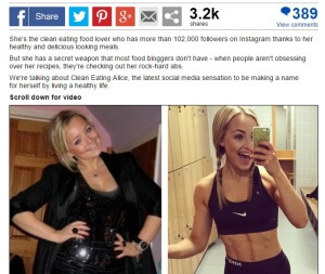 Daily Mail Clean Eating Alice Instagram