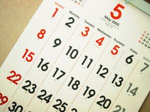 calendar, key dates