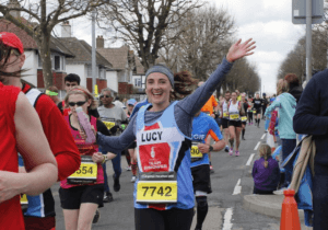 Lucy at mile 17 of the Brighton Marathon 2016