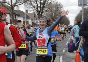 Lucy at mile 17 of the Brighton Marathon 2016