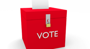 political campaign advert, ballot box