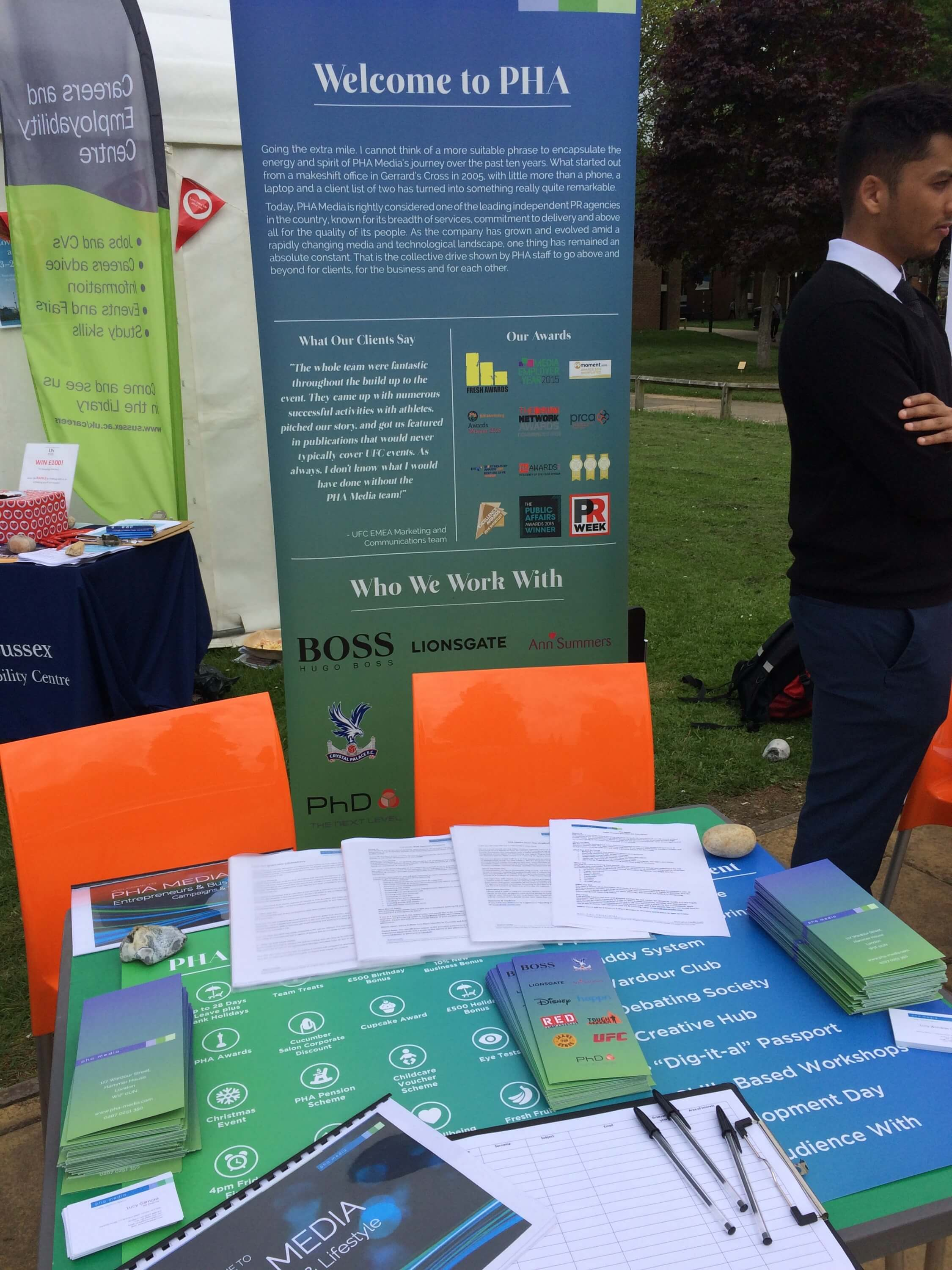 The PHA Group's stand at The University of Sussex's Mini Careers Fair was filled with take away material on work opportunities and career advice.