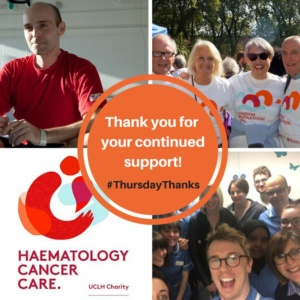 Haematology Cancer care - UCLH charity social post #ThursdayThanks