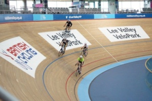 Lee Valley VeloPark with riders riding around the park for British Cycling