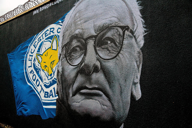Claudio Ranieri manager of Leicester City flag