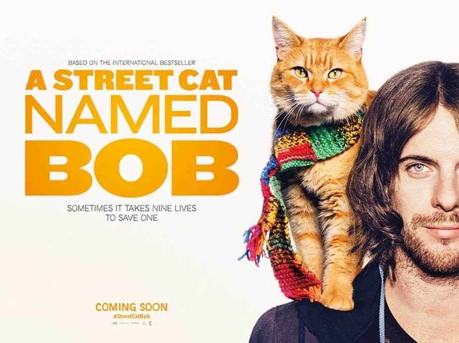 A banner for the movie called 'A street cat named Bob'