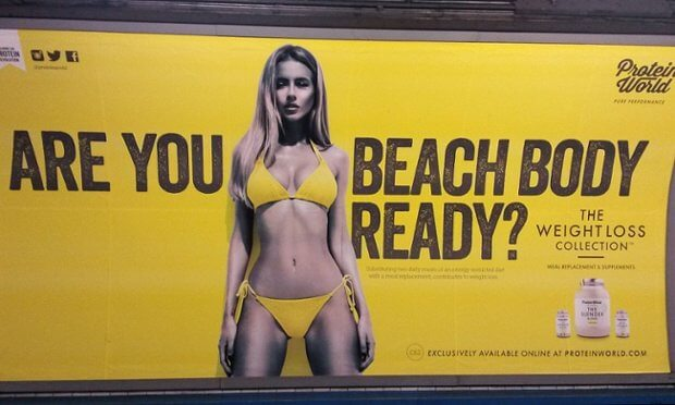 A picture of a lady in a yellow bikini saying Are you beach body ready? Protein World - Crisis Management PR