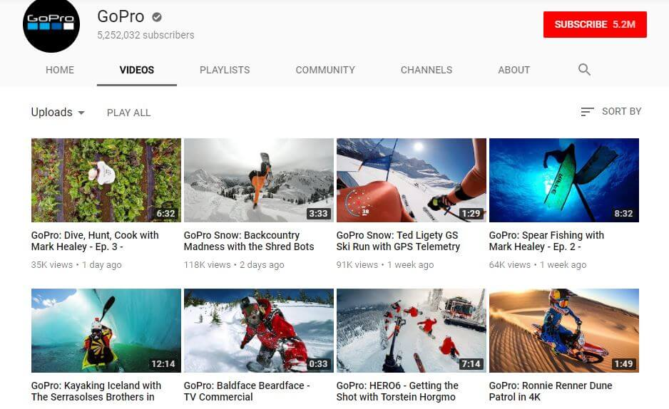 GoPro's Youtube channel