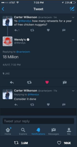 Carter Wilkerson tweet to Wendy's