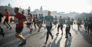A group of people running in a mass participation event