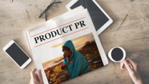 Product PR newspaper on a coffee table