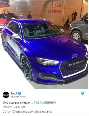Audi social post during the WC 2014