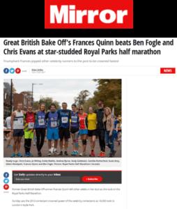 Great British Bake Off's Frances Quinn in Mirror at Royal Parks half marathon