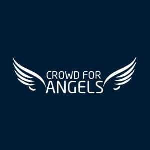 Crowd for Angels logo with angel wing incons