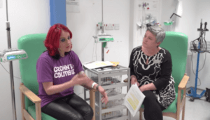 Crohn's and Colitis tshirt in a hospital room