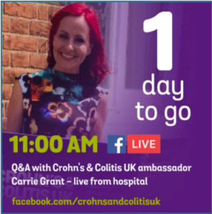 Crohn's and Colitis social post on Facebook Live