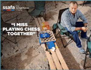 SSAFA social imagery of a man sitting in a chair playing chess
