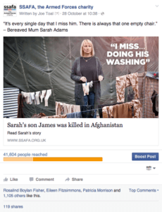SSAFA social post regarding a James who died in Afghanistan