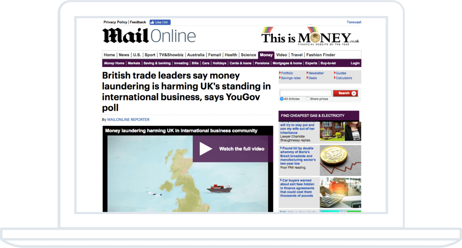 eFiling 2-D video being shown on the front of the MailOnline
