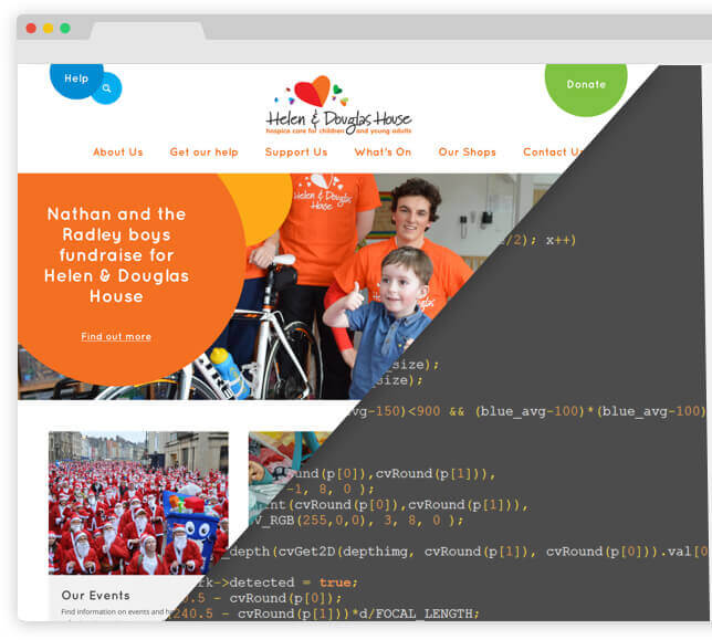 Helen & Douglas Web Design desktop preview with HTML code