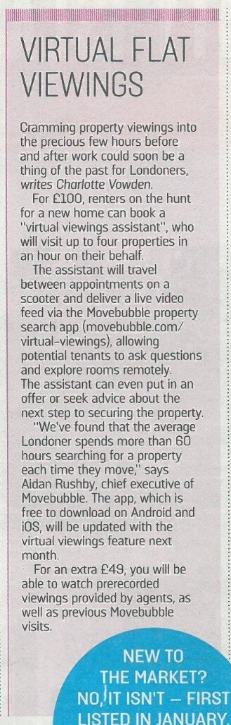 Virtual flat viewings coverage for Movebubble achieved by The PHA Group