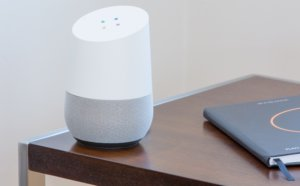 Google home sitting on a table