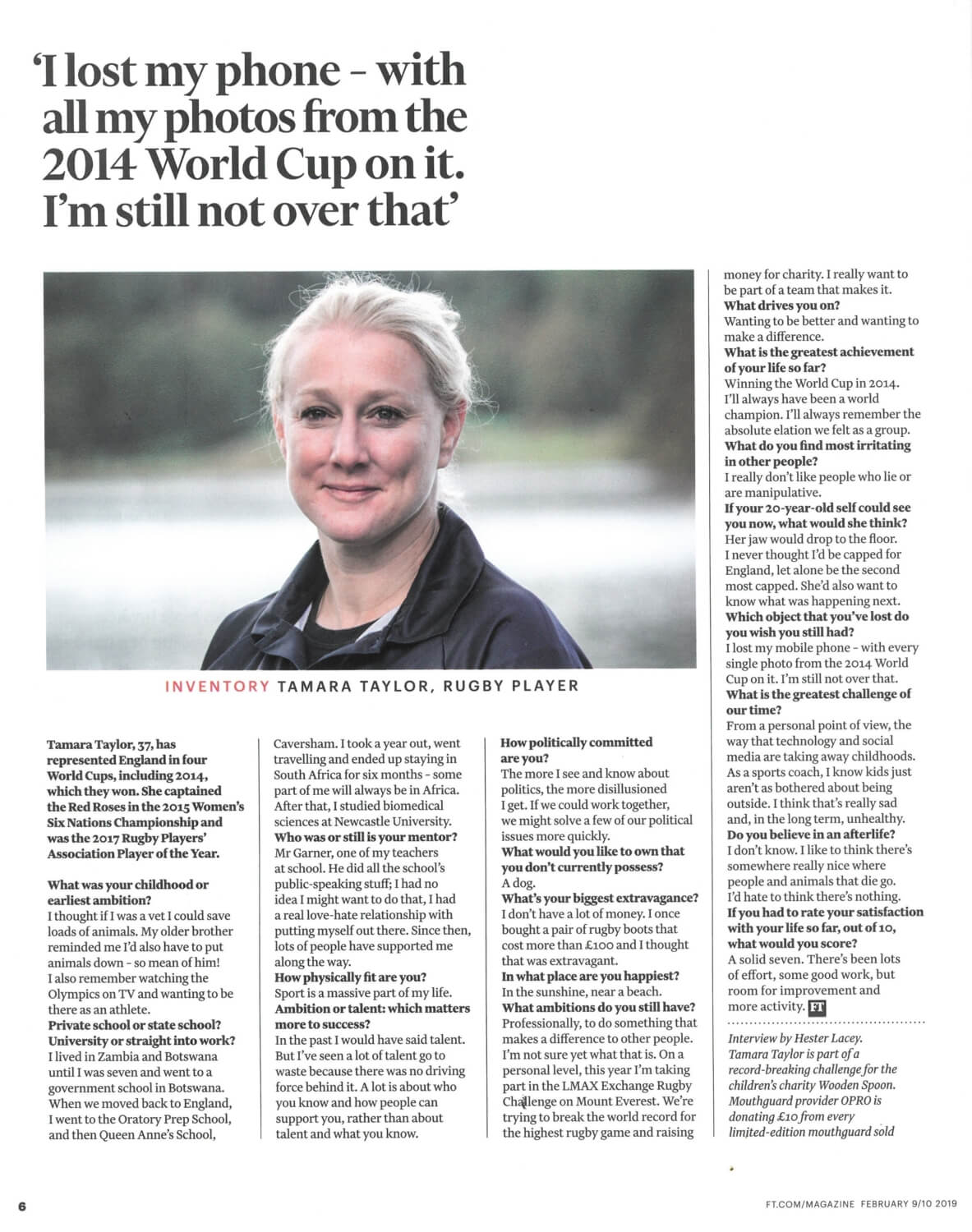 FT - 'I lost my phone - with all my photos from the 2014 World Cup on it.' - Tamara Taylor, Rugby player