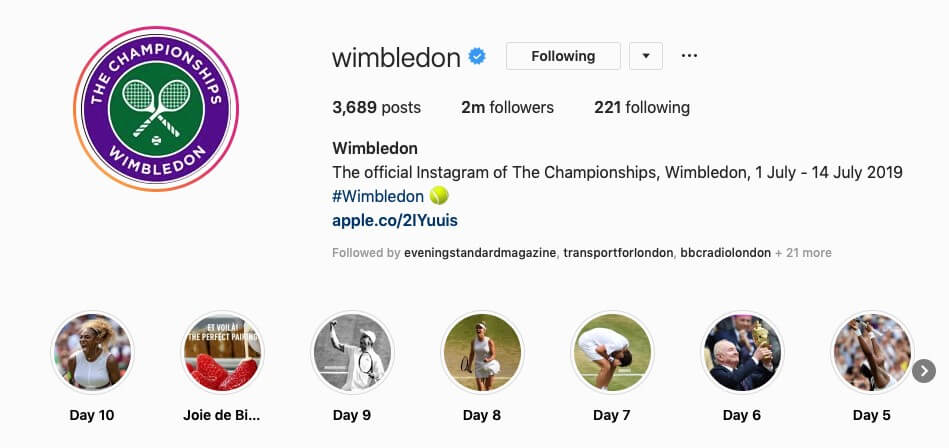 Wimbledon social Instagram account