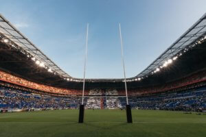 rugby posts in a stadium