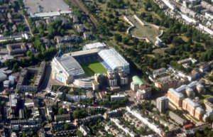 An aerial shot of Stamford Bridge